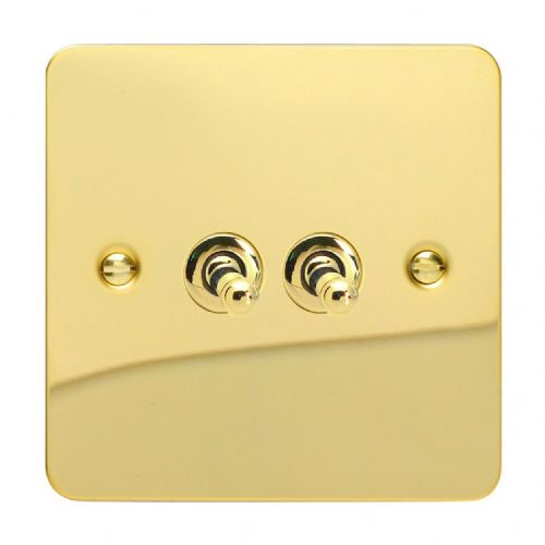 Varilight XFVT2 Ultraflat Polished Brass 2 Gang 10A 1 or 2 Way Toggle Light Switch